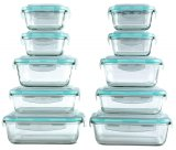 5 Pieces Glass Lunch Box Microwave Glass Bowl Crisper with Cover