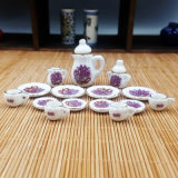 1/12 Mini Tableware Tea Set Dollhouse Miniature Accessories 15 Pieces