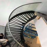Glass Railing and Glass Tread Curved Stairs for Villa