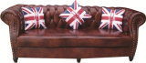 Chesterfield London English 2.5 Seater Antique Oxblood Leather Sofa Settee with Scroll Fronted Arms