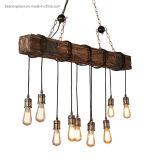 Industrial Natural Wood Lighting Vintage Hemp Rope Pendant Lamp