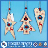 Wooden Star Heart and Mini-Tree Design with Jingle Bell for Hanging Wall Decor