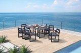 Modern Popular Leisure Aluminium Frame Textilene Rop Teak Wood Armrest Outdoor Dining Furniture Set