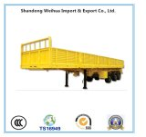 12.4m 60t Fuwa 3 Axle Drop Side Flat Bed Truck Semi Trailer with Low Price