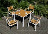 New Modern Patio Restaurant Dining Table Chairs Aluminum Wooden Garden Outdoor Furniture