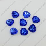 Blue Fancy Stones Heart Shape Shiny Stones Beads
