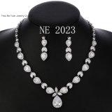Women′s Wedding Bridal Teardrop CZ Infinity Figure 8 Y-Necklace Tennis Bracelet Tear Drop Dangle Earrings Set