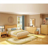 Wood Panel Headboard 5 Piece Bedroom Set in Natural Maple