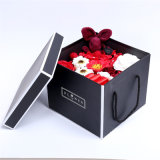 Cheap Custom Waterproof Paper Flower Box with Lid Fresh Rose Party Flowers Round Cardboard Packaging Box Made in China