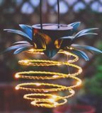 Solar Outdoor Pineapple Design Iron Art Metal Hollow out Tree Leaves Shadow LED Round Lantern Decoration Lamp