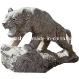 Natural Stone Animal Carving Statue, Leopard Art Sculpture for Garden