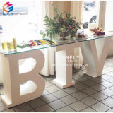 Wedding Banquet MDF Baby Letter Table White Wooden Table