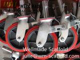 Scaffolding Polyurethane PU Caster Cast Iron Wheel with Brake Screw Jack