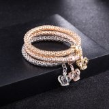 Fashion Zircon Diamond Multilayer Crown Bracelet Bangle Jewelry