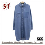 Custom Fashion Polo Neck Long Denim Coat
