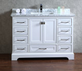 "48"" Free-Standing White Carrara Marble Top Vanity Cabinet"