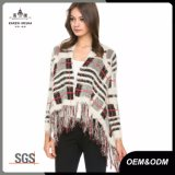 Plaid Fringe Knit Womens Sweater Jacket