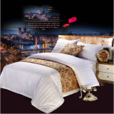 100% Cotton 3cm Stripes White 4 PCS Hotel Bedding Sets (DPFB80103)