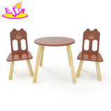 Wholesale Cheap Kindergarten Cartoon Bear Painted Wooden Table and Chairs for Kids W08g235
