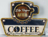 "Vintage Decoration Antique Emboss ""Life Begins After Coffee"" Design Metal and Plastic Frame Wall Decor W/LED Light"