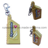 Bottle Shaped Custom Both Sides 3D PVC Keychain with Logo for Promotion Gifts