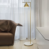 Post Modern Home/Hotel Bedroom Floor Lamp Standing Lamp Light with Shade, Brush Bronze Plated