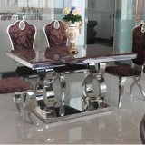 Creative and Natural Arianna Marble Dining Table Stainless Steel