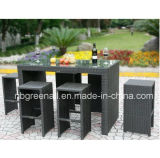 Outdoor PE Rattan Garden Modern Patio Dining Bar Table Set