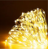 Solar Powered Warm White 120LED Copper Wire LED String Fairy Light Lamp