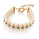Wedding Engagement Gift Crystal Pearl Jewelry Dubai Gold Beaded Bracelet