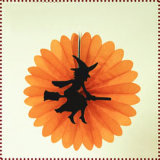 Witch Decorated Halloween Round Paper Fan