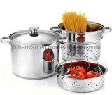 Stainless Steel Cookware 8 Quart Multipots 4-Piece Pasta Cooker Steamer