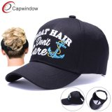 Ponytail Cotton Baseball Caps Adjustable Empty Top Messy Bun Hat for Women