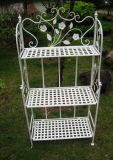 Popular Shabby Chic Anti White 3-Tier Metal Book Shelf Garden Shelf Outdoor Plant Stand (PL08-7087)