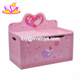 New Design Children Cartoon Wooden Toy Box with Lid W08c008