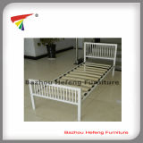 White Powder Coated Metal Single Bed with Wood Slats (HF072)
