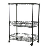 3 Layer Rolling Kitchen Trolley Cart Metal Wire Shelf Adjustable W/Baskets Rack