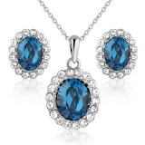 Wholesale Blue Crystal Bead Pendant imitation Alloy Jewelry Set