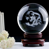 Transparent 3D Engrave Crystal Ball with Base