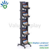 Black Wheels Movable Metal Aluminum Newspaper Book Rack with Height-Adjustable Shelf
