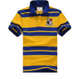 Men′s Classic Short Sleeve Cotton Striped Polo Shirt