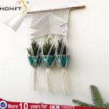 Macrame Hanging Planter with 3 Ceramic Plant Flower Pots, White