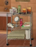 Knock Down 3 Tiers Kitchen / Bathroom Chrome Metal Wire Rack Trolley