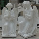 China White Marble Garden Kneeling Praying Angel Statue