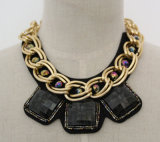 Fashion Acrylic Zircon Charm Costume Chunky Necklace Collar (JE0019-2)