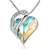 Love Heart Pendant Necklace Made with 925 Sterling Sliver Chain and Crystals Birthstone Jewelry Gifts for Women