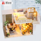 Dollhouse Miniature DIY House Kit Creative Room with Furniture for Romantic Valentine's Gift
