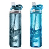 High Quality Tritan BPA Free Sports Water Bottle with Silicone Straw