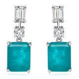 Fashion 925 Sterling Silver Emerald Stone Jewelry Luxury Earrings Jewelry