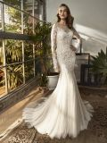 Long Sleeve Lace Mermaid Evening Dress Bridal Gown Wedding
